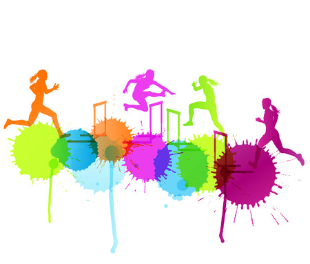 tough woman: Hurdle race woman barrier running vector background winner overcoming difficulties concept with color splashes