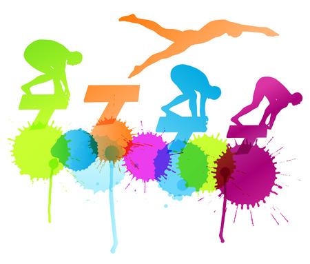 nadar: Activo jóvenes nadadores de buceo y natación en el deporte de agua abstracto siluetas de la piscina de fondo vector concepto de ilustración con salpicaduras