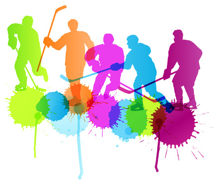 ice hockey player: Ice hockey player silhouette sport abstract vector background concept with color splashes