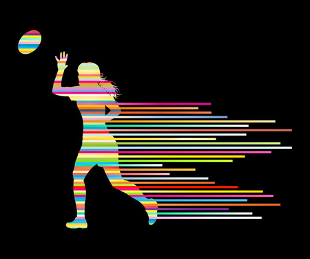woman black background: Rugby player woman silhouette vector background concept made of stripes