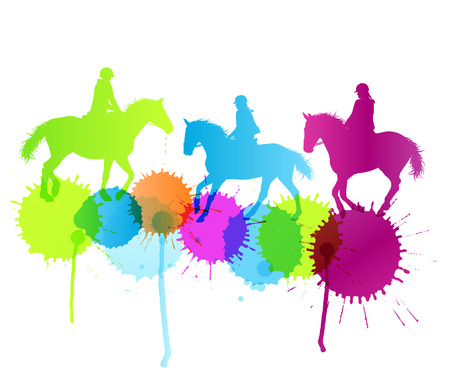 derby: Horse riding vector background concept with color splashes for poster Illustration