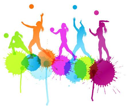 Volleybal vrouw speler vector achtergrond concept met kleur spatten