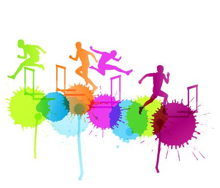 atletismo: Los hombres activos deporte atletismo cañizos barrera ejecutan siluetas ilustración vectorial concepto con salpicaduras de color