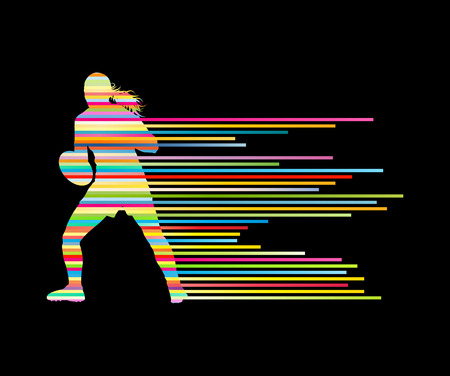rugby player: Rugby player woman silhouette vector background concept made of stripes
