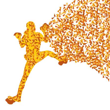 Kinder, Teenager Mädchen rock climber Sportler Kletterwand abstrakte Silhouetten Hintergrund vektor Konzept der Fragmente gemacht
