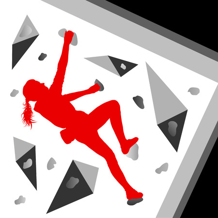 dangerous woman: Climber woman winner vector background concept for poster