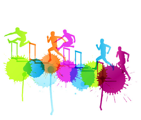 athletic: Active men sport athletics hurdles barrier running silhouettes illustration background vector concept with color splashes Illustration