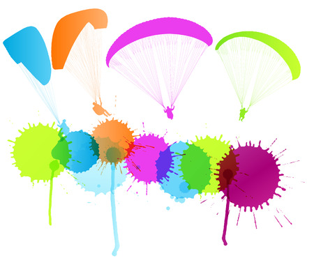 paragliding: Paragliding vector background concept with color splashes for poster