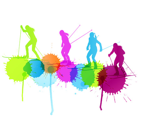 ski: Active young woman cross country skiing sport silhouette vector background concept with color splashes Illustration