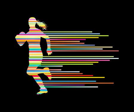 ストライプの作ったラグビー プレーヤー女性シルエット ベクトルの背景概念 写真素材 - 41783718