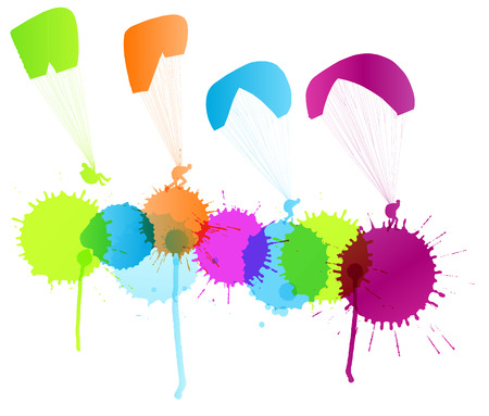parapente: Parapente vector del concepto del fondo de color salpica por un cartel
