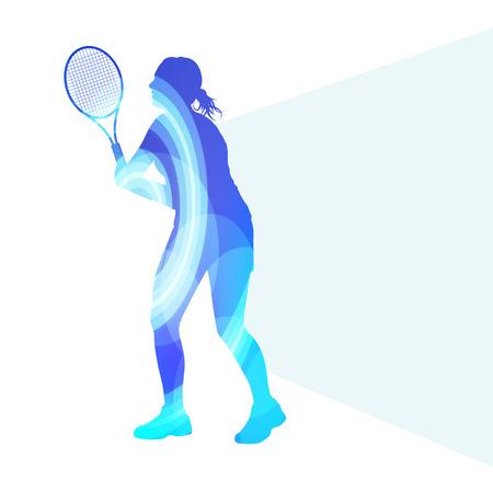 女性テニス シルエット ベクトルの背景カラフルな概念では、透明な湾曲した形で作られて