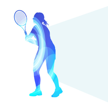 Woman tennis silhouette vector background colorful concept made of transparent curved shapes