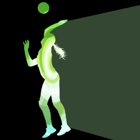 voleibol: Jugador de voleibol femenino silueta concepto de fondo colorido del vector de la mujer hecha de formas transparentes curvas
