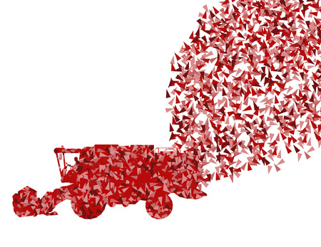 harvester: Harvester in work background illustration vector concept made of fragments isolated on white
