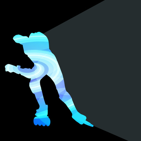 speed skating: Man, teenage boy driving with inline skates, skating vector background colorful concept made of transparent curved shapes