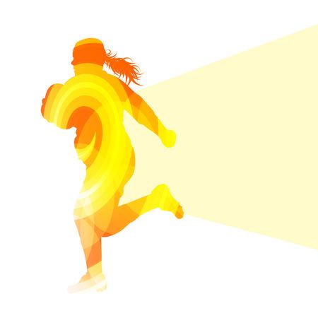 coger: Silueta del jugador concepto de colores de fondo vector mujer Rugby hecho de formas transparentes curvas