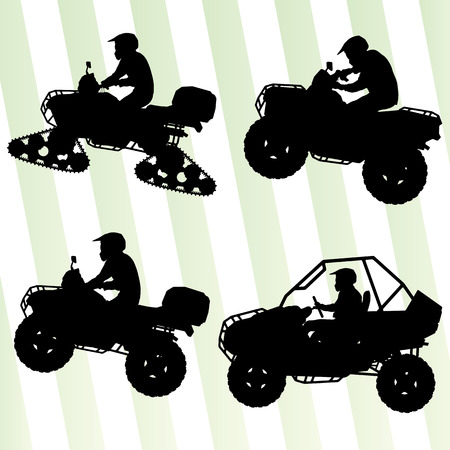 Todas las motos quad vehículo todo terreno y jinetes buggy colección ilustración conjunto de vectores de fondo