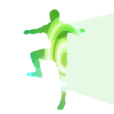 handsome boys: Man athletic stretching exercise warm up silhouette vector background colorful concept made of transparent curved shapes Illustration