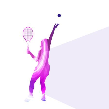 Tenis de la mujer silueta concepto colorido del vector del fondo hecha de formas transparentes curvas