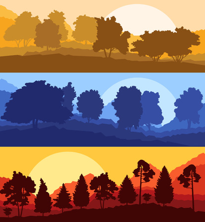 forest wood: Forest wood mountain background vector set concept landscape for poster