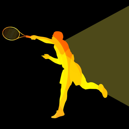 Man, boy tennis silhouette vector background colorful concept made of transparent curved shapes