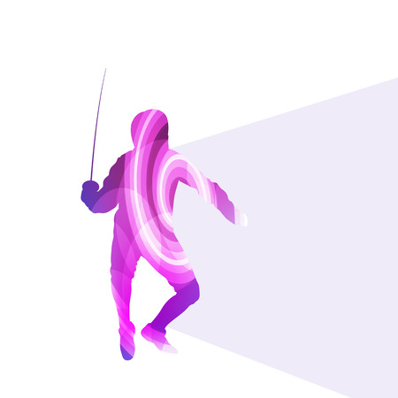 fencing: Fencing man silhouette vector background colorful concept made of transparent curved shapes