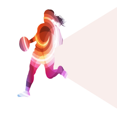 action sports: Rugby woman player silhouette vector background colorful concept made of transparent curved shapes