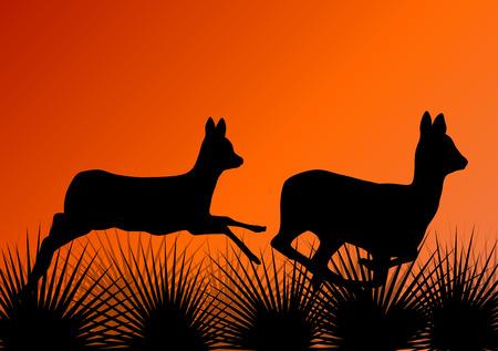ecology background: Deer doe in grass field vector background ecology concept Illustration