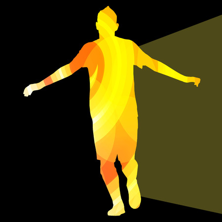 exercise silhouette: Man athletic stretching exercise warm up silhouette vector background colorful concept made of transparent curved shapes Illustration