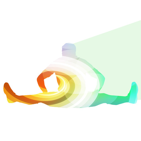 stretching exercise: Man athletic stretching exercise warm up silhouette vector background colorful concept made of transparent curved shapes Illustration