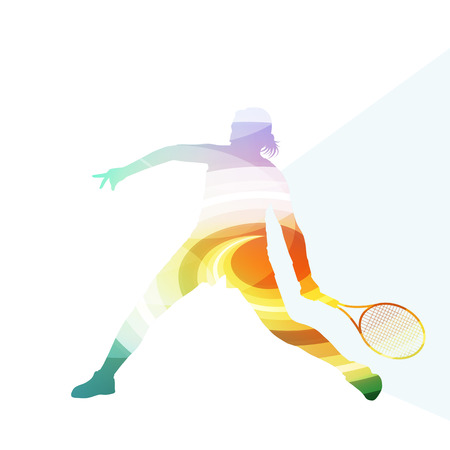 action girl: Woman tennis silhouette vector background colorful concept made of transparent curved shapes