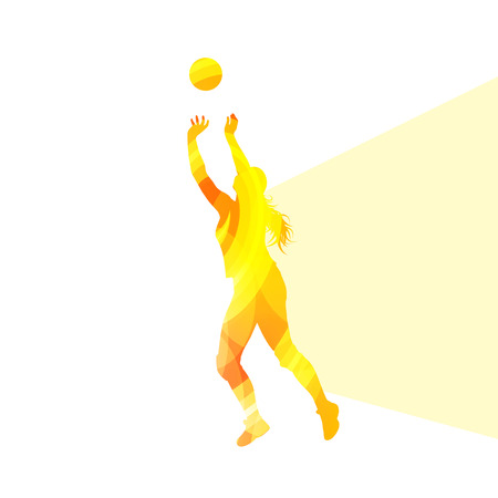 hitter: Woman female volleyball player silhouette vector background colorful concept made of transparent curved shapes