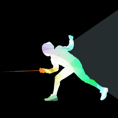 fighting: Fencing man silhouette vector background colorful concept made of transparent curved shapes