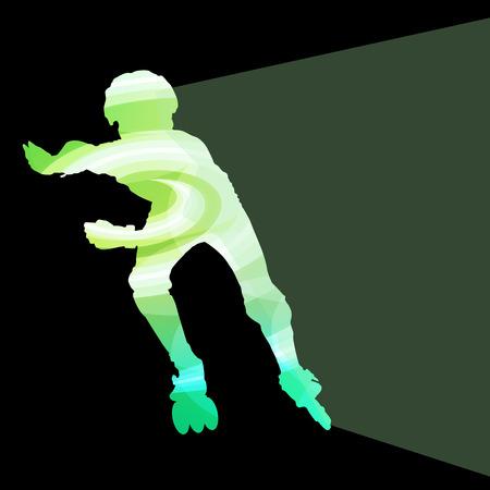 ni�o en patines: El hombre, adolescente conducir con patines en l�nea, patinaje concepto colorido del vector del fondo hecha de formas transparentes curvas