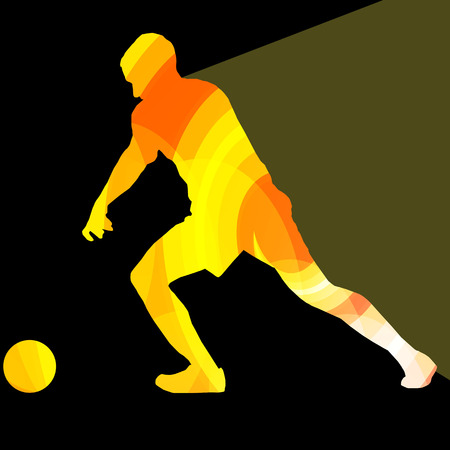keeper: Soccer football player silhouette vector background colorful concept made of transparent curved shapes