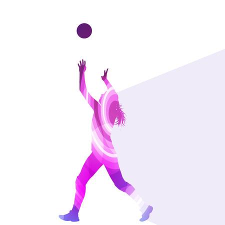 balon de voley: Jugador de voleibol femenino silueta concepto de fondo colorido del vector de la mujer hecha de formas transparentes curvas