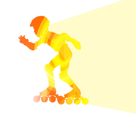action sports: Man, teenage boy driving with inline skates, skating vector background colorful concept made of transparent curved shapes