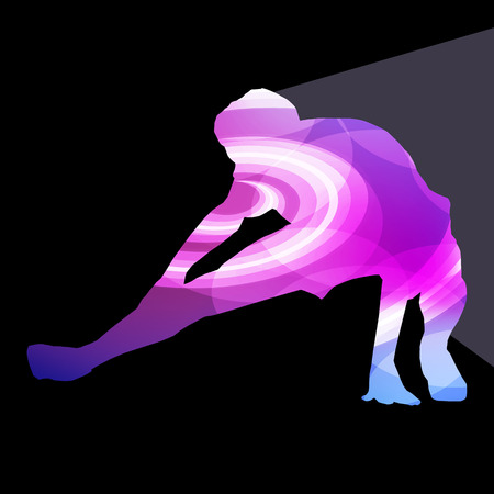 stretching: Man athletic stretching exercise warm up silhouette vector background colorful concept made of transparent curved shapes Illustration