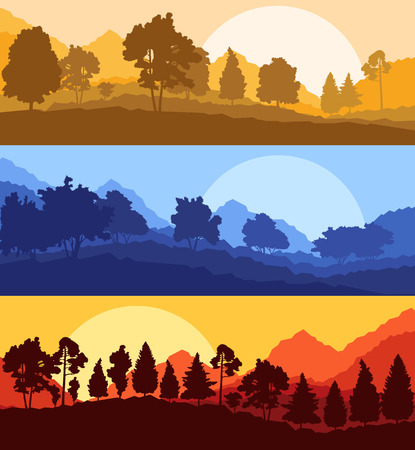 trees silhouette: Forest wood mountain background vector set concept landscape for poster