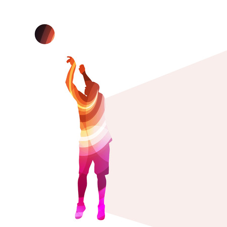 match: Basketball player man silhouette illustration vector background colorful concept made of transparent curved shapes