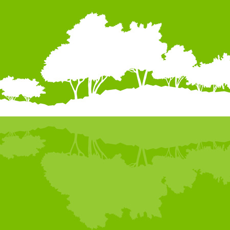 water reflection: Forest trees wild nature silhouettes landscape illustration background vector ecology concept with abstract reflection in water for poster Illustration