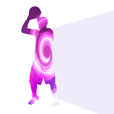 rebound: Basketball player man silhouette illustration vector background colorful concept made of transparent curved shapes