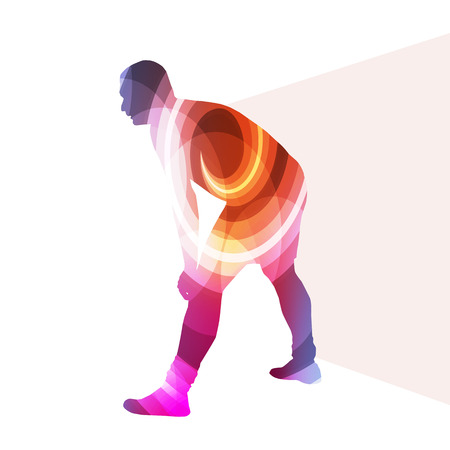 warm up: Man athletic stretching exercise warm up silhouette vector background colorful concept made of transparent curved shapes Illustration