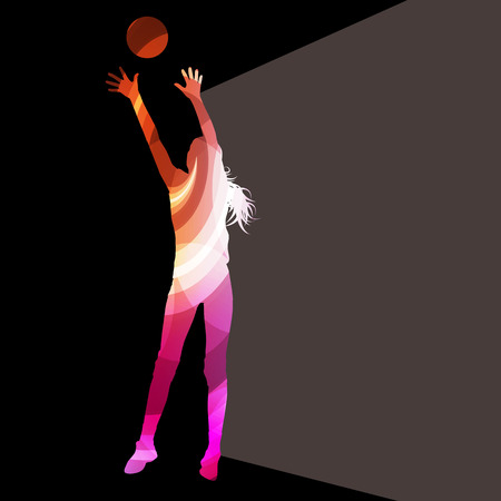 female volleyball: Woman female volleyball player silhouette vector background colorful concept made of transparent curved shapes