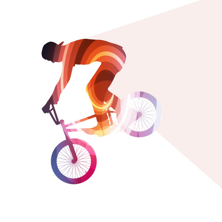 silueta ciclista: Extreme cyclists abstract bicycle rider silhouette vector background colorful concept made of transparent curved shapes Vectores