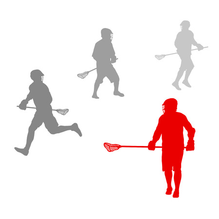 lax: Lacrosse player in action winner concept vector background for poster