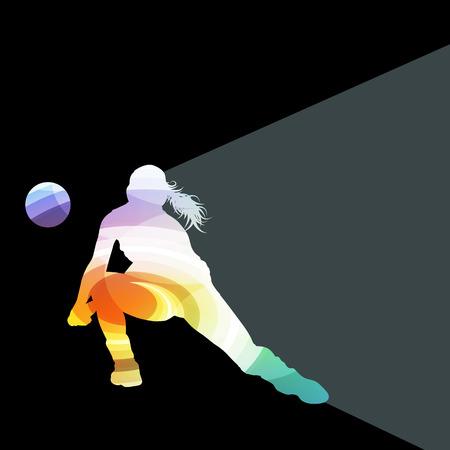 Vrouw vrouwelijke volleybal speler silhouet vector achtergrond kleurrijke begrip gemaakt van transparante gebogen vormen Vector Illustratie