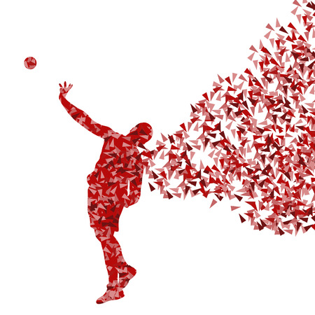 launching: Male sport athletic ball throwing, shot put silhouettes abstract illustration background vector concept made of fragments