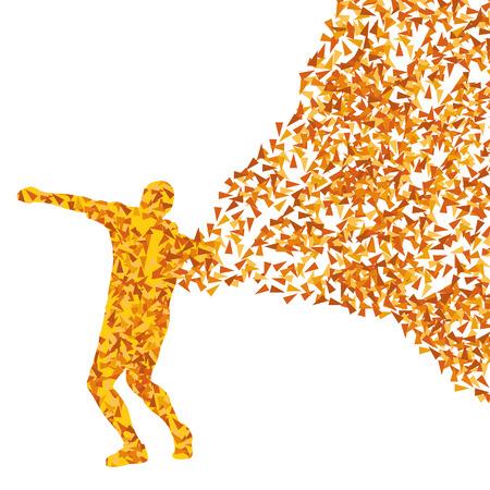 lanzamiento de bala: Deporte masculino de lanzamiento atlético bola, lanzamiento de peso siluetas ilustración abstracta del concepto del fondo del vector hecha de fragmentos